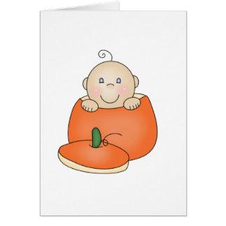Cartes Bébé blanc en citrouille