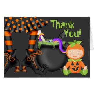 Cartes Bébé mignon dans le Merci de Halloween de costume
