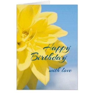 Cartes Bel anniversaire jaune de fleur