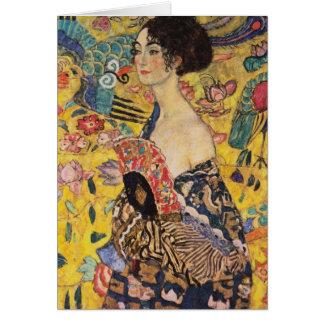 Cartes Belle femme avec la fan par Klimt