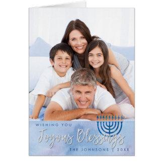 Cartes Bénédictions joyeuses de Hanoukka bleues et