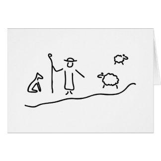 Cartes Berger avec le troupeau de moutons et le chien