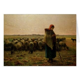 Cartes Bergère avec son troupeau, 1863