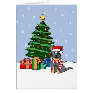 Cartes Bétail australiens chien et arbre de Noël