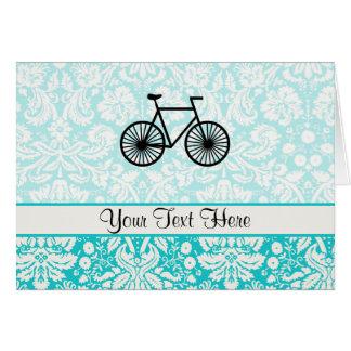 Cartes Bicyclette de motif de damassé ; Teal