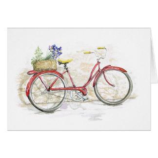 Cartes Bicyclette rouge avec le panier
