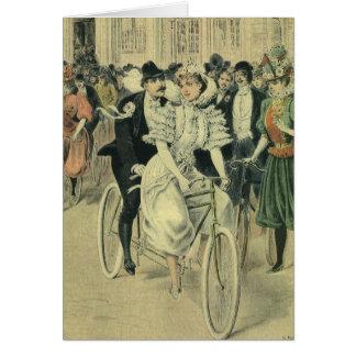 Cartes Bicyclette victorienne vintage de Newyweds de
