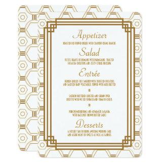 Cartes blanches de menu de mariage d'art déco