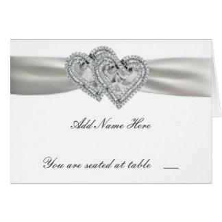 Cartes blanches d'endroit de mariage de coeurs