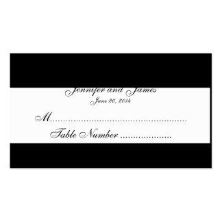 Cartes blanches noires d'endroit de mariage de mon carte de visite