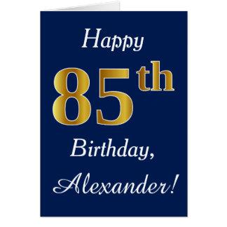 Cartes Bleu, anniversaire d'or de Faux 85th + Nom fait