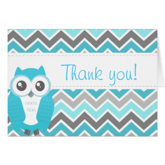 Cartes Bleu Chevron de note de Merci de baby shower de