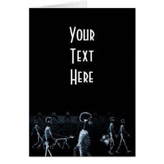 Cartes Bleu de minuit de noir de balade de squelettes de