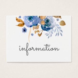 Cartes bleues de l'information de mariage d'or