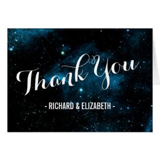 Cartes bleues de Merci de mariage de galaxie