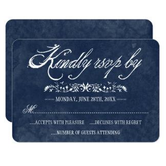 Cartes bleues de réponse de mariage d'aquarelle