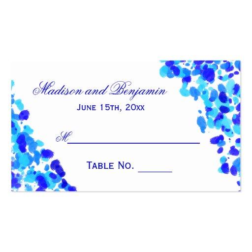 Cartes bleues d'endroit de mariage d'aquarelle modèle de carte de visite