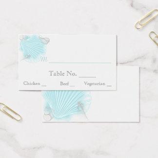 Cartes bleues d'endroit de mariage de plage de