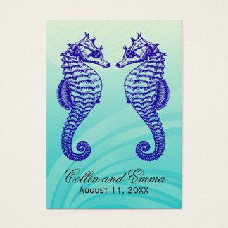 Cartes bleues d'endroit de mariage d'hippocampe