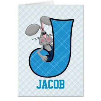 """Cartes bleues du monogramme """"J"""" du lièvre de"""