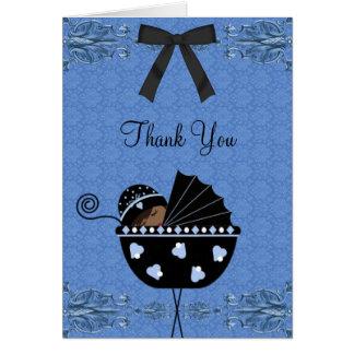 Cartes bleues noires de Merci de baby shower de