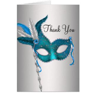 Cartes bleues turquoises de Merci de partie de