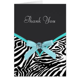 Cartes bleues turquoises de Merci de zèbre