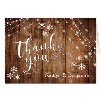 Cartes Bois rustique, lumières blanches et Merci de