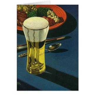 Cartes Boissons vintages de nourriture, verre de bière,