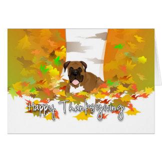 Cartes Bon thanksgiving - chien de boxeur