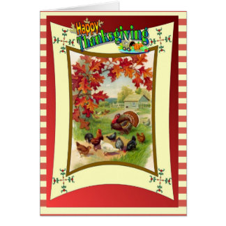 Cartes Bon thanksgiving - dindes et poulets