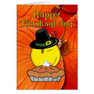 Cartes Bon thanksgiving - pèlerin souriant de visage,