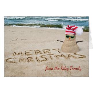 Cartes Bonhomme de neige arénacé de Noël sur la plage