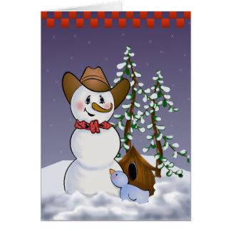 Cartes Bonhomme de neige de cowboy avec le Bandana rouge