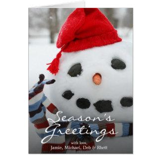Cartes Bonhomme de neige souriant de visage