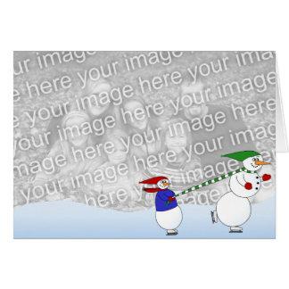Cartes Bonhommes de neige de patinage