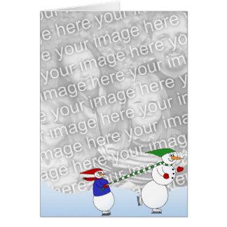 Cartes Bonhommes de neige de patinage 2