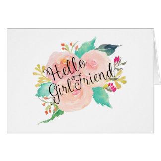 Cartes Bonjour aquarelle d'amie florale