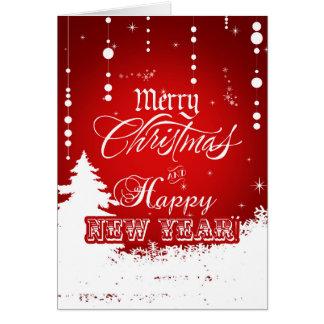 Cartes Bonne année blanche rouge d'entreprise de Joyeux