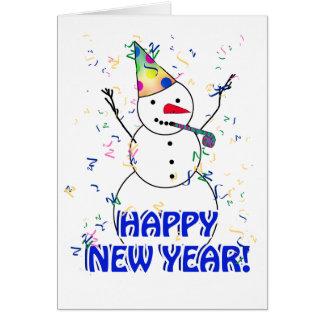 Cartes Bonne année du bonhomme de neige de célébration
