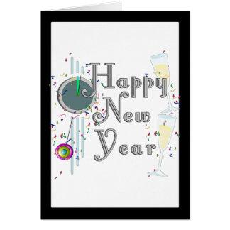 Cartes Bonne année - verres et horloge de Champagne
