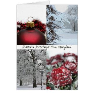Cartes Bonnes Fêtes du Maryland - collage rouge d'hiver