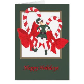 Cartes bonnes fêtes elfe 1 de sucre de canne