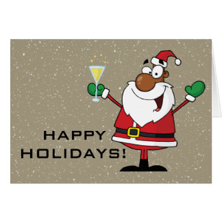 Cartes Bonnes fêtes pain grillé de Père Noël noir
