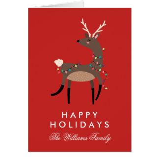 Cartes Bonnes fêtes renne de lumières de Noël de |