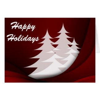 Cartes Bonnes fêtes, rouge avec les arbres blancs