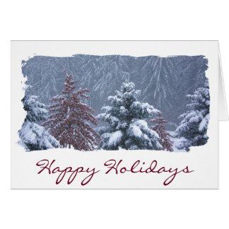 Cartes Bonnes fêtes scène confortable neigeuse du pays