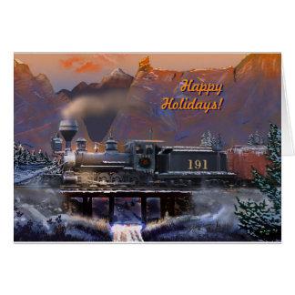 Cartes Bonnes fêtes !  Train/neige de vapeur du Colorado