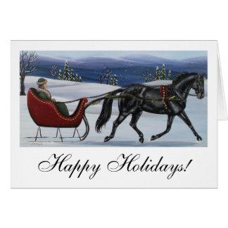Cartes Bonnes fêtes un cheval Sleigh ouvert