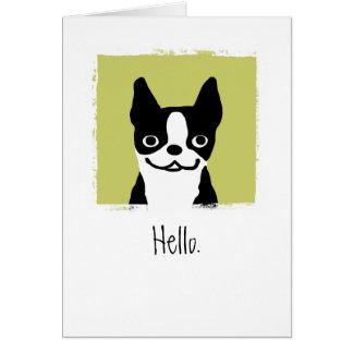 "Cartes Boston Terrier ""bonjour """
